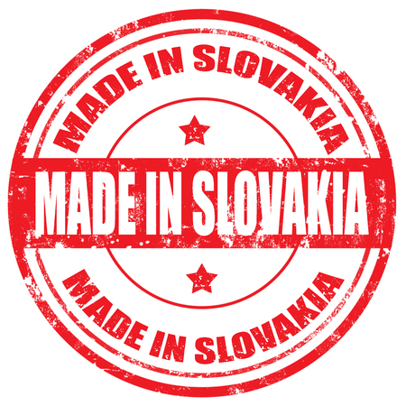 Grunge rubber stamp with text Made in Slovakia,vector illustration