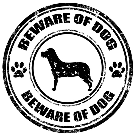 beware of the dog: Grunge rubber stamp with text Beware Of Dog,vector illustration Illustration