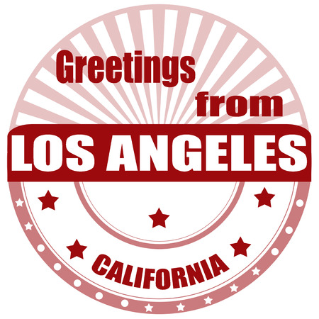 angeles: Label with text Greetings from Los Angeles,vector illustration Illustration