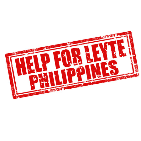 typhoon: Grunge rubber stamp with text Help For Leyte-Philippines,vector illustration Illustration