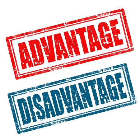 disadvantage: Set of grunge rubber stamps with words Advantage,Disadvantage Illustration