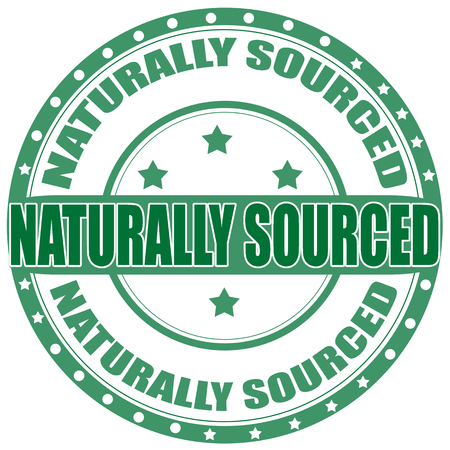 sourced: Label with text Naturally Sourced