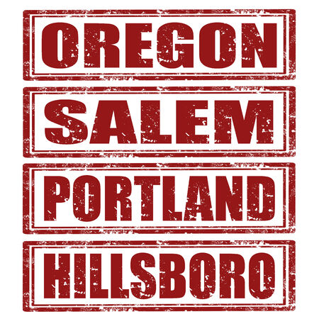 Grunge rubber stamps with words Oregon,Salem,Portland,Hillsboro Stock Vector - 23765646
