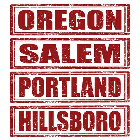 Grunge rubber stamps with words Oregon,Salem,Portland,Hillsboro Stock Vector - 23765646