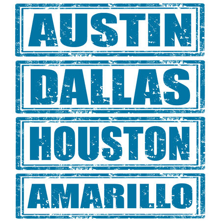 Conjunto de sellos de goma del grunge con palabras de Austin, Dallas, Houston y Amarillo Foto de archivo - 23765663