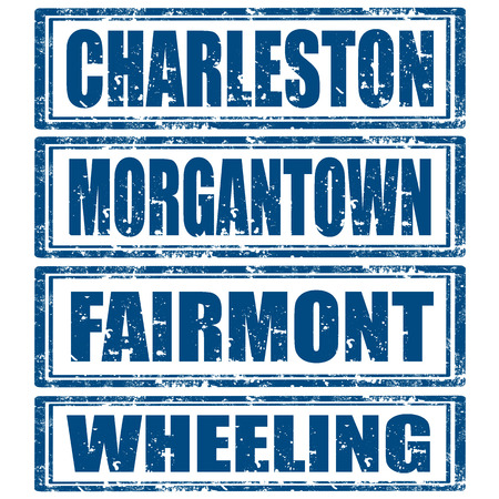 wheeling: Grunge rubber stamps with words Charleston,Morgantown,Fairmont and Wheeling