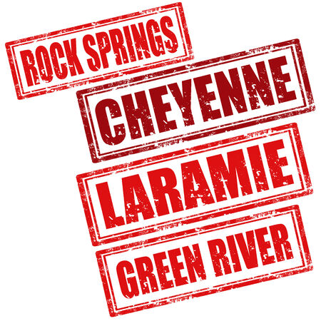 green river: Set of grunge rubber stamp with words Rock Springs,Cheyenne,Laramie and Green River Illustration