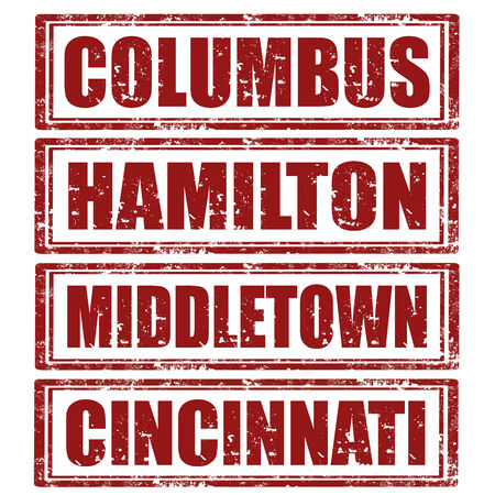 hamilton: Set of grunge rubber stamps with words Columbus,Hamilton,Middletown and Cincinnati