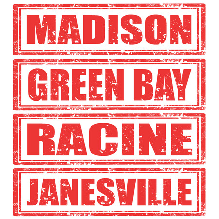 madison: Set of grunge rubber stamps with words Madison,Green Bay,Racine and Janesville Illustration