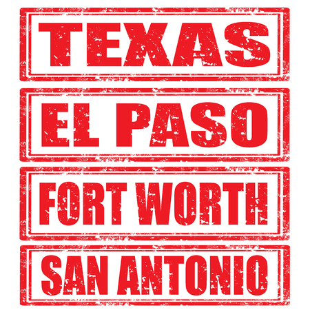 Set of grunge rubber stamps with words Texas,El Paso,Fort Worth and San Antonio Vector