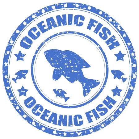 대양의: Grunge rubber stamp with text Oceanic Fish,vector illustration