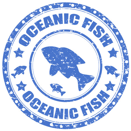 oceanic: Grunge rubber stamp with text Oceanic Fish,vector illustration