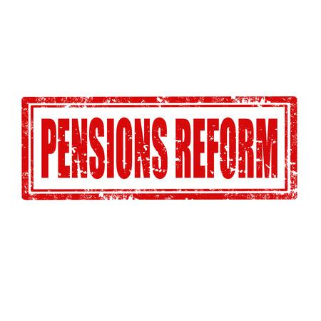pensioen: Grunge rubber stempel met tekst pensioenhervorming, vectorillustratie Stock Illustratie