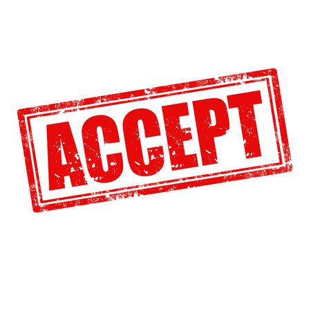 accepter: Tampon en caoutchouc grunge avec le mot Accepter, illustration vectorielle