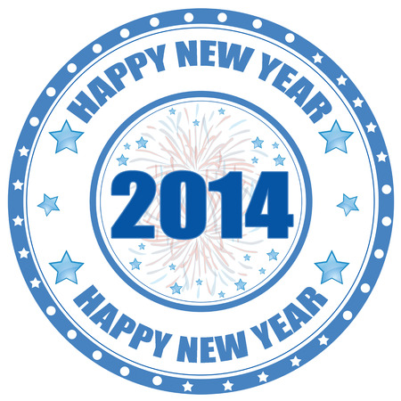 Label with text Happy New Year 2014,vector illustration