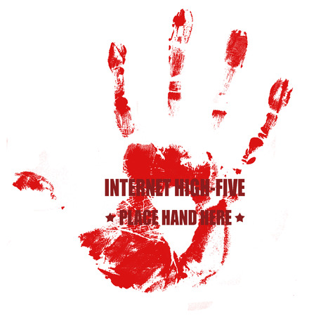 high five: Print of hand on red with text internet high-five written on it, vector illustration Illustration