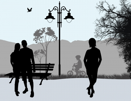 People outdoor in city park background, vector illustration Vector