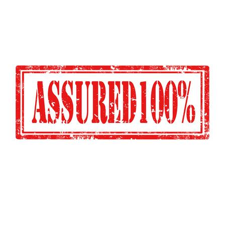 assured: Grunge sello de goma con el texto Assured 100, ilustraci�n vectorial