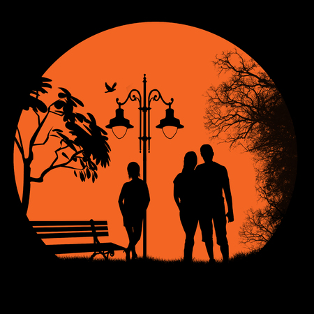 People outdoor in city park in front of  full moon background, vector illustration Vector