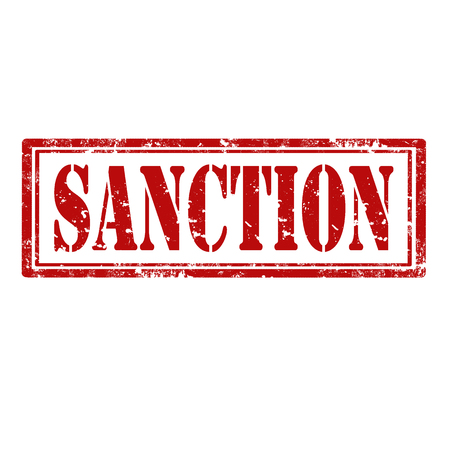 sanction: Grunge rubber stamp with text Sanction,vector illustration