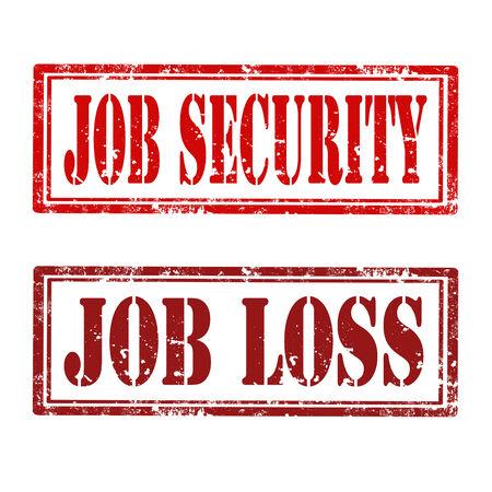 seguridad en el trabajo: Conjunto de sellos de caucho de grunge con texto de Seguridad en el empleo y la p�rdida de trabajo