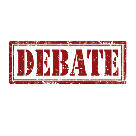 Grunge rubber stamp with word Debate,vector illustration Vettoriali