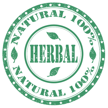 Grunge rubber stamp with text Herbal-Natural 100 ,vector illustration Illustration