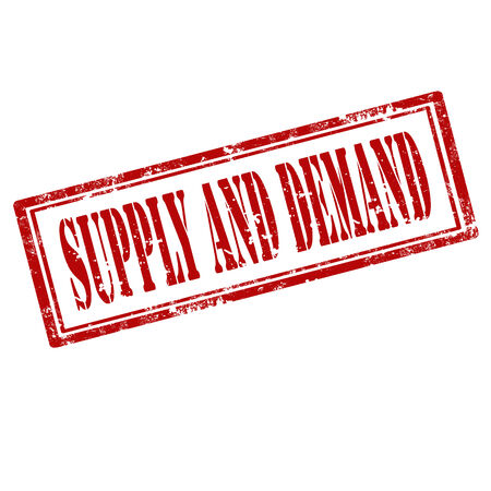 on demand: Grunge rubber stamp with text Supply And Demand,vector illustration