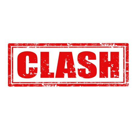 clash: Grunge rubber stamp with word Clash inside,vector illustration