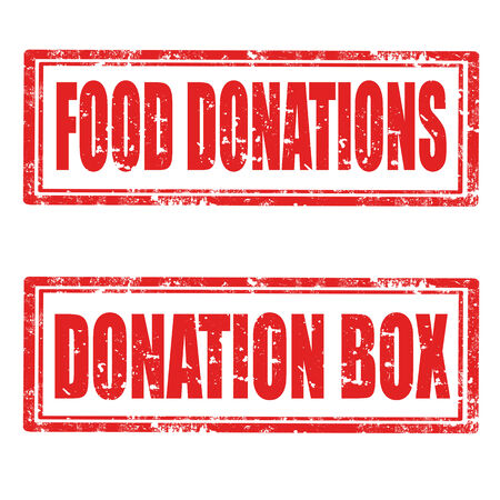 Set of grunge rubber stamps with text Food Donations and Donation Box,vector illustration Illustration