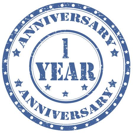 Grunge razítko s textem Anniversary 1 rok, vektorové ilustrace