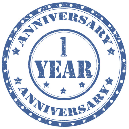 1: Grunge rubber stamp with text Anniversary 1 Year,vector illustration