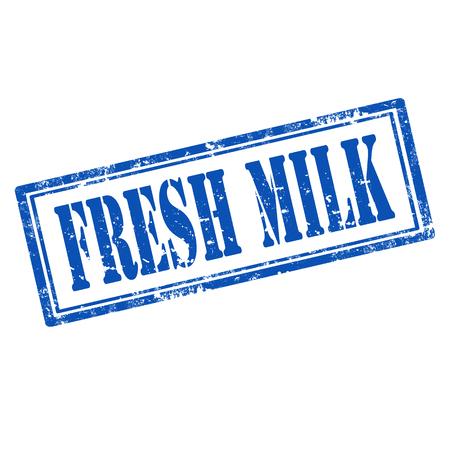 organic fluid: Grunge rubber stamp with text Fresh Milk,vector illustration