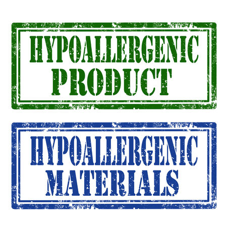 hypoallergenic: Set of grunge rubber stamp with text Hypoallergenic Product and Hypoallergenic Materials,vector illustration