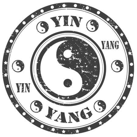 Grunge rubber stamp with text Yin-Yang illustration