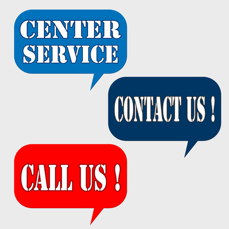 contact center: Set of labels with text Center Service,Contact Us and Call Us  illustration