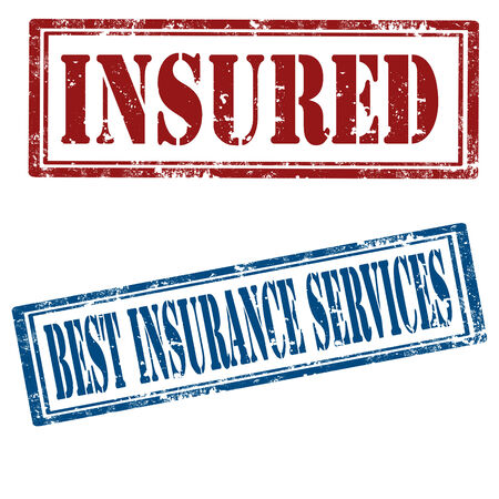 insured: Set of grunge rubber stamps with text Insured and Best Insurance Services,vector illustration