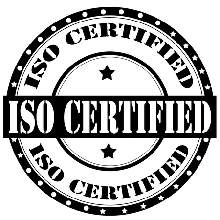 iso: Label with text ISO Certified,vector illustration
