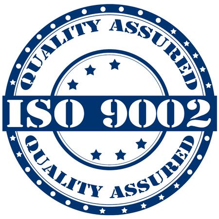 assured: Etiqueta con texto ISO 9002 de calidad garantizada, ilustraci�n vectorial Vectores