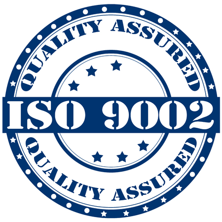 assured: Label with text ISO 9002-Quality Assured,vector illustration Illustration