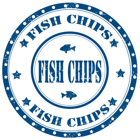 fish and chips: Grunge rubber stamp with text Fish Chips,vector illustration