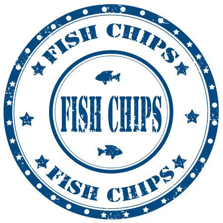 fish and chips: Tampon en caoutchouc grunge avec des puces texte de poissons, illustration vectorielle Illustration