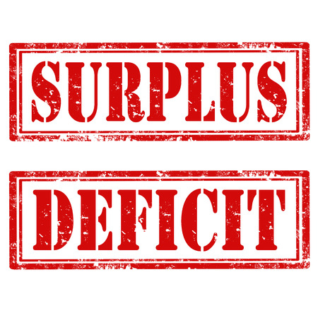 deficit: Set of grunge rubber stamps with text Surplus and Deficit,vector illustration