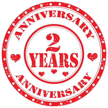 Grunge rubber stamp with text Anniversary-2 Years,vector illustration Illustration