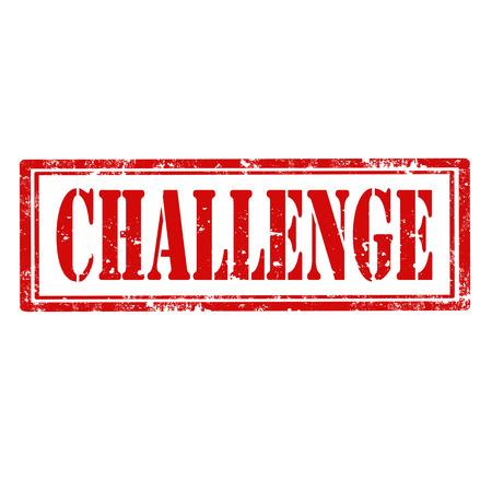 defiance: Grunge rubber stamp with word Challenge,vector illustration