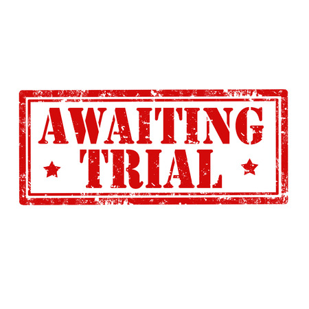 awaiting: Grunge sello de goma con el texto pendiente ilustraci�n Trial