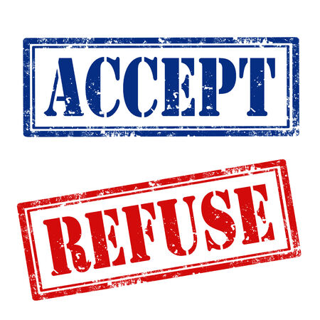 accepter: Jeu de timbres en caoutchouc grunge avec le texte Accepter et Refuser, illustration vectorielle Illustration
