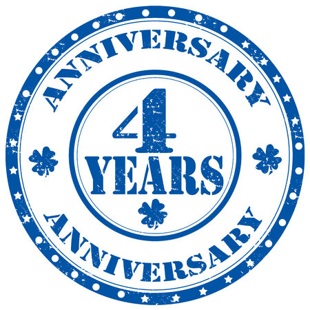 Grunge rubber stamp with text Anniversary-4 Years,vector illustration Vector