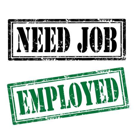 employed: Grunge rubber stamps with text Need Job and Employed Illustration