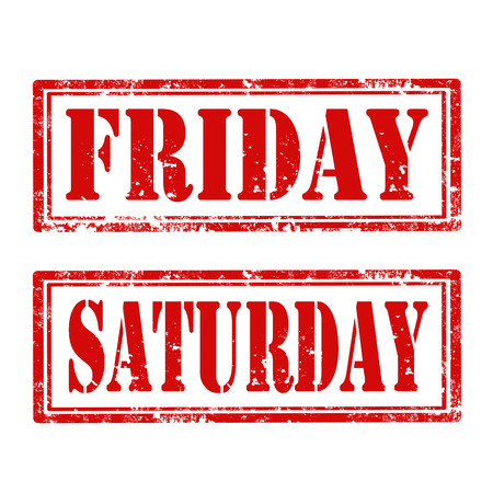 saturday: Grunge rubber stamps with text Friday and Saturday,vector illustration Illustration